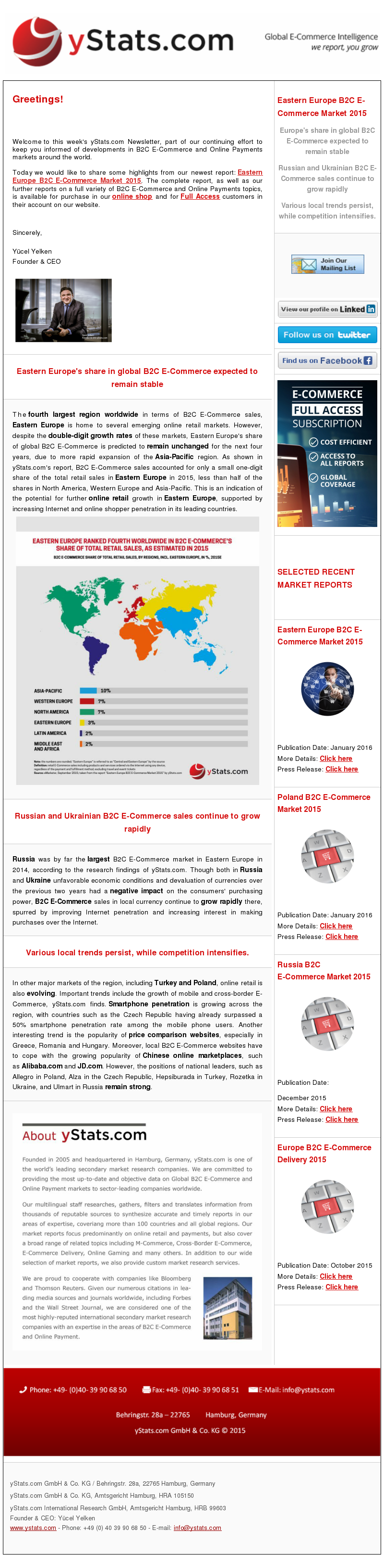 The fourth largest region worldwide in terms of B2C E-Commerce sales, Eastern Europe is home to several emerging online retail markets. However, despite the double-digit growth rates of these markets, Eastern Europe's share of global B2C E-Commerce is predicted to remain unchanged for the next four years, due to more rapid expansion of the Asia-Pacific region. As shown in yStats.com's report, B2C E-Commerce sales accounted for only a small one-digit share of the total retail sales in Eastern Europe in 2015, less than half of the shares in North America, Western Europe and Asia-Pacific. This is an indication of the potential for further online retail growth in Eastern Europe, supported by increasing Internet and online shopper penetration in its leading countries.  Russia was by far the largest B2C E-Commerce market in Eastern Europe in 2014, according to the research findings of yStats.com. Though both in Russia and Ukraine unfavorable economic conditions and devaluation of currencies over the previous two years had a negative impact on the consumers' purchasing power, B2C E-Commerce sales in local currency continue to grow rapidly there, spurred by improving Internet penetration and increasing interest in making purchases over the Internet.  In other major markets of the region, including Turkey and Poland, online retail is also evolving. Important trends include the growth of mobile and cross-border E-Commerce, yStats.com finds. Smartphone penetration is growing across the region, with countries such as the Czech Republic having already surpassed a 50% smartphone penetration rate among the mobile phone users. Another interesting trend is the popularity of price comparison websites, especially in Greece, Romania and Hungary. Moreover, local B2C E-Commerce websites have to cope with the growing popularity of Chinese online marketplaces, such as Alibaba.com and JD.com. However, the positions of national leaders, such as  Allegro in Poland, Alza in the Czech Republic,