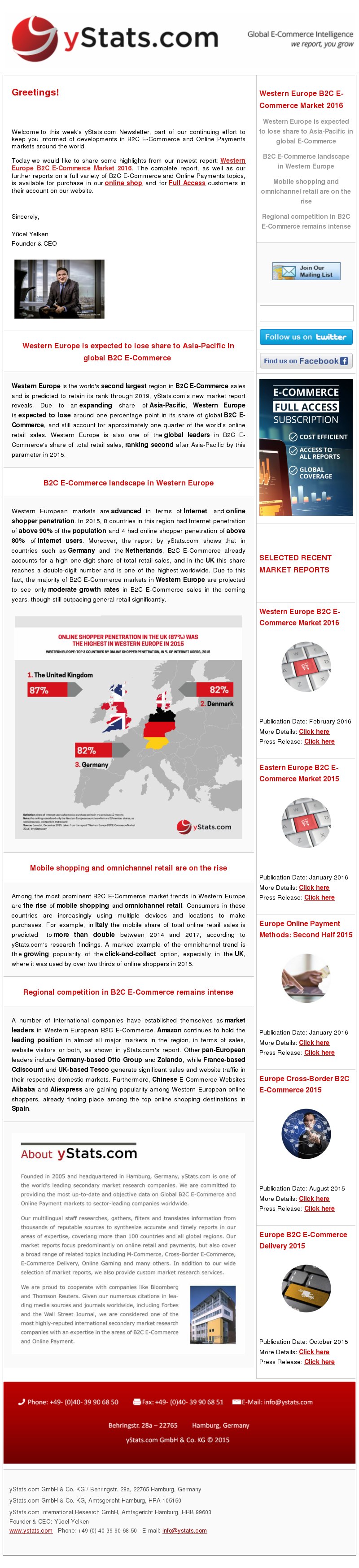 yStats.com Newsletter , Western European B2C E-Commerce , ecommerce market sales growth rates , France , B2C E-Commerce sales , online retail , Otto Group , Zalando , share online total retail , online retail share , B2C E-Commerce market trends , Cdiscount , Tesco ,  pan-European leaders , UK ,  online shopper penetration rates , Germany , Spain , mobile commerce , cross-border shopping , international ecommerce players , local online retail company , competition landscape , online retail sale , 2016 Western Europe is the world's second largest region in B2C E-Commerce sales and is predicted to retain its rank through 2019, yStats.com's new market report reveals. Due to an expanding share of Asia-Pacific, Western Europe is expected to lose around one percentage point in its share of global B2C E-Commerce, and still account for approximately one quarter of the world's online retail sales. Western Europe is also one of the global leaders in B2C E-Commerce's share of total retail sales, ranking second after Asia-Pacific by this parameter in 2015.  Western European markets are advanced in terms of Internet and online shopper penetration. In 2015, 8 countries in this region had Internet penetration of above 90% of the population and 4 had online shopper penetration of above 80% of Internet users. Moreover, the report by yStats.com shows that in countries such as Germany and the Netherlands, B2C E-Commerce already accounts for a high one-digit share of total retail sales, and in the UK this share reaches a double-digit number and is one of the highest worldwide. Due to this fact, the majority of B2C E-Commerce markets in Western Europe are projected to see only moderate growth rates in B2C E-Commerce sales in the coming years, though still outpacing general retail significantly.  Among the most prominent B2C E-Commerce market trends in Western Europe are the rise of mobile shopping and omnichannel retail. Consumers in these countries are increasingly using multiple devic