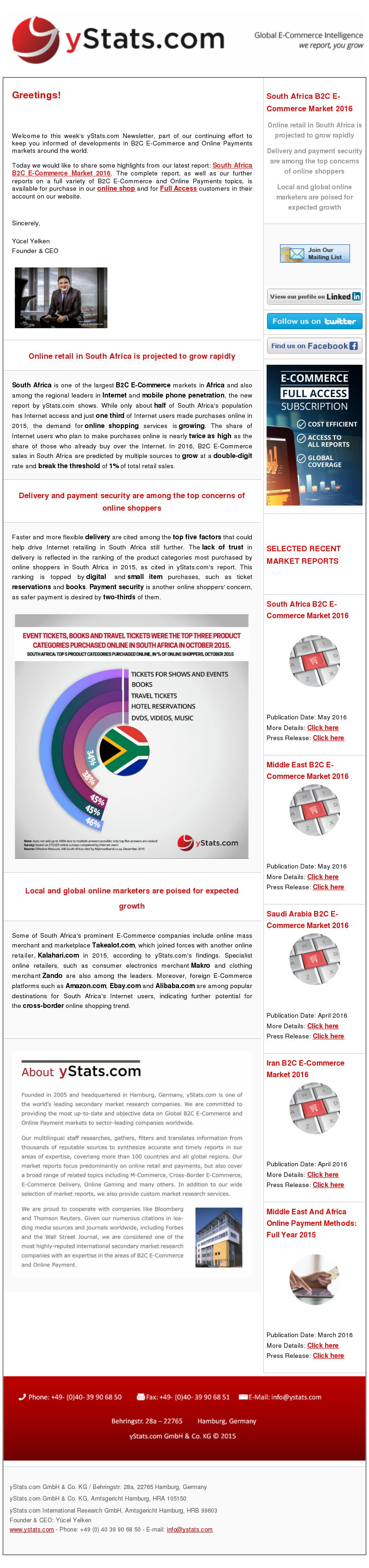 yStats.com Newsletter B2C E-Commerce South Africa , South Africa Africa B2C E-Commerce Market 2016 , market size , online shoppers , retail sales , ecommerce sales , internet penetration , emerging market , south Africa , mobile phone penetration ,  local ecommerce companies , global online retail companies , online shopping , online shopping delivery methods , online payment security , takealot.com , Kalahari.com , makro , zando , cross-border online shopping trend , internet retail sales , e-commerce competitors , international players , newsletter , 2016 South Africa is one of the largest B2C E-Commerce markets in Africa and also among the regional leaders in Internet and mobile phone penetration, the new report by yStats.com shows. While only about half of South Africa's population has Internet access and just one third of Internet users made purchases online in 2015, the demand for online shopping services is growing. The share of Internet users who plan to make purchases online is nearly twice as high as the share of those who already buy over the Internet. In 2016, B2C E-Commerce sales in South Africa are predicted by multiple sources to grow at a double-digit rate and break the threshold of 1% of total retail sales.  Faster and more flexible delivery are cited among the top five factors that could help drive Internet retailing in South Africa still further. The lack of trust in delivery is reflected in the ranking of the product categories most purchased by online shoppers in South Africa in 2015, as cited in yStats.com's report. This ranking is topped by digital and small item purchases, such as ticket reservations and books. Payment safety is another online shoppers' concern, as safer payment is desired by two-thirds of them.  Some of South Africa's prominent E-Commerce companies include online mass merchant and marketplace Takealot.com, which joined forces with another online retailer, Kalahari.com in 2015, according to yStats.com's findings. Specialist o