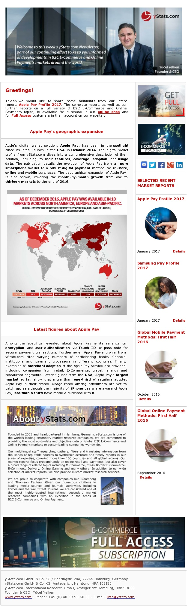 Newsletter: Apple Pay's geographic expansion  Key facts about Apple Pay revealed in a digital wallet profile  Apple's digital wallet solution, Apple Pay, has been in the spotlight since its initial launch in the USA in October 2014. The digital wallet profile from yStats.com dives into a comprehensive description of the solution, including its main features, coverage, adoption and usage data. The publication details the evolution of Apple Pay from a pure smartphone wallet to a robust digital payment method for in-store, online and mobile purchases. The geographical expansion of Apple Pay is also shown, covering the month-by-month growth from one to thirteen markets by the end of 2016.  Among the specifics revealed about Apple Pay is its reliance on encryption and user authentication via Touch ID or pass code for secure payment transactions. Furthermore, Apple Pay's profile from yStats.com cites varying numbers of participating banks, financial institutions and payment processors in different countries. Finally, examples of merchant adoption of the Apple Pay service are provided, including companies from retail, E-Commerce, travel, energy and restaurant segments. Latest figures from the USA, Apple Pay's largest market so far, show that more than one-third of retailers adopted Apple Pay in their stores. Usage rates among consumers are yet to catch up, as although the majority of iPhone users are aware of Apple Pay, less than a third have made a purchase with it.